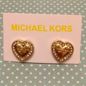 Michael Kors Gold pave heart earrings